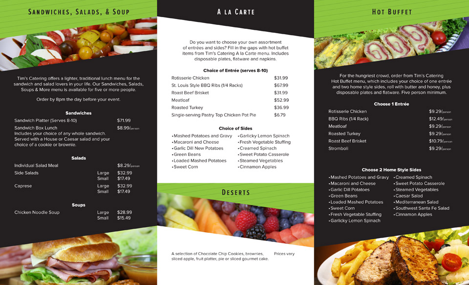 Tim's Catering Menu - inside