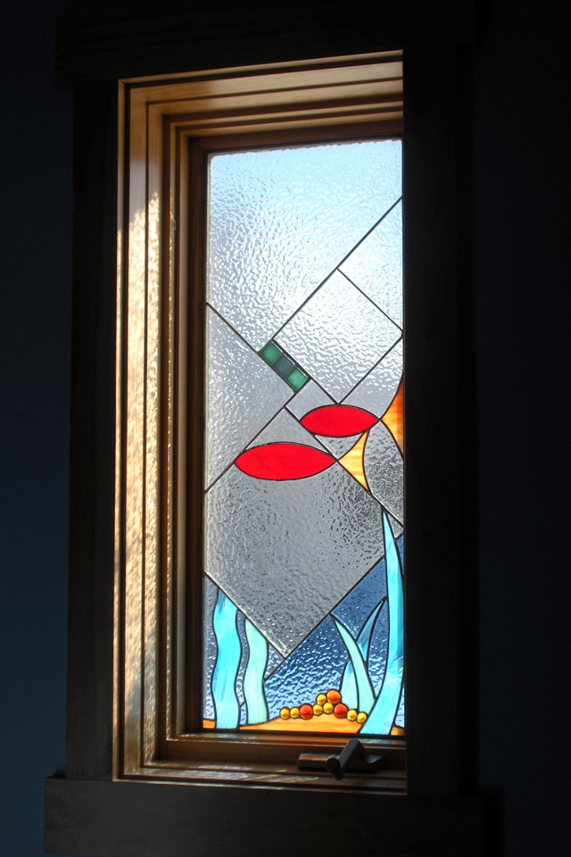 Stained glass windows kristin fundalinski designs Bathroom designs with window in shower
