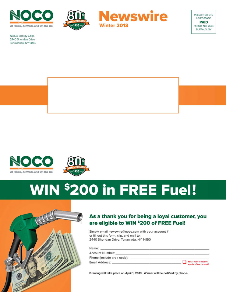 NOCO Newsletter 13 Win, mailing panel
