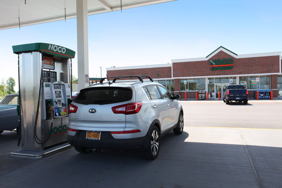 Photo by Kristin D. Fundalinski. Car at NOCO Express pumps