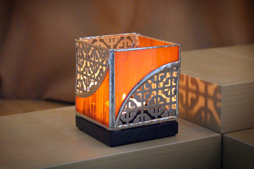 Stained Glass and Metal Candle Holder 3×3 - orange
