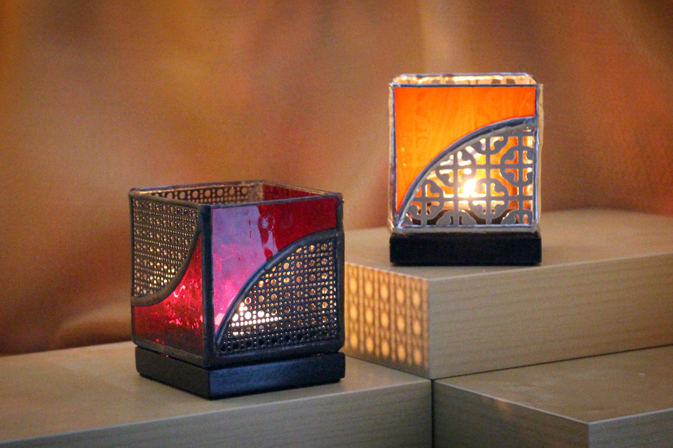 Stained Glass and Metal Candle Holders 3×3