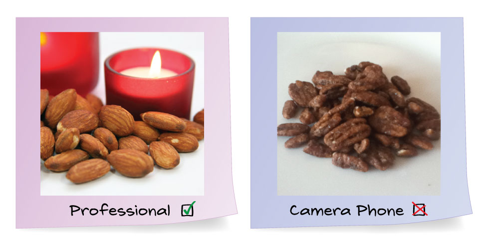 Professional image of nuts vs non-professional